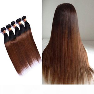 Colored Brazilian Ombre Human Hair 4 Bundles Two Tone 1B 30# Auburn Brown Brazilian Ombre Straight Remy Human Hair Weave Extensions