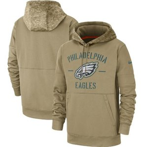 Philadelphia Homens Mulheres Criança águias camisola Tan Vintage 2019 Salute to Serviço Sideline Therma pulôver