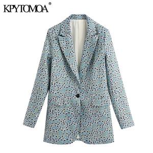 KPYTOMOA Femmes 2020 Bureau Mode Vêtements Imprimer Floral Manteau Blazer Vintage manches longues Retour Femme Hauts Hauts Vents Chic