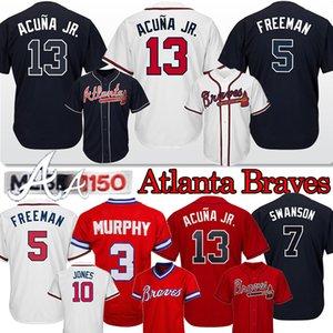 13 Ronald Jr Acuna Atlanta Braves personnalisés 44 Hank Aaron 5 Freddie Freeman 3 Dale Murphy 10 Chipper Jones hommes Baseball Maillots