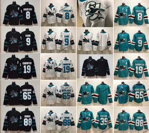 201 Neue schwarze San Jose Sharks 65 Erik Karlsson 88 Brent Burns 8 Joe Pavelski 19 Joe Thornton 39 Logan Couture 9 Evander Kane Eishockey-Trikots