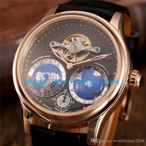 Collection Villeret automatique en or rose cadran noir Mens Watch Bracelet en cuir vachette Transparent Top qualité Montres dos du boîtier Designer Sport