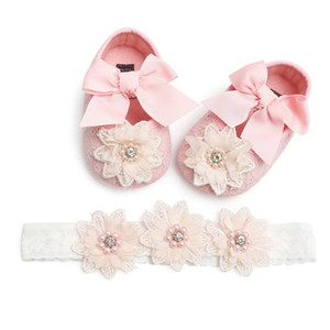 Baby Girl Lace Shoes Floral Headwear Princess Headband Photography Props Set