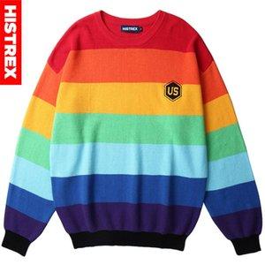 Homens Hip Hop camisola de malha listrado da cor do arco-íris bloco Streetwear pulôver 2020 Harajuku bordados de algodão
