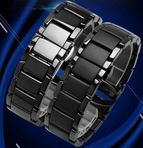AR1452 AR1451 için seramik kordonlu saat 22mm 24mm Yüksek Kalite Siyah Seramik Kayış Bilezik çelik siyah Dağıtım bandı