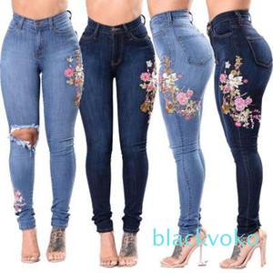 3XL Womens Denim Floral Embroidery High Stretch Jeans Big Yard Light Dark Blue Leggings Pants High Waist Pants