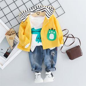 HYLKIDHUOSE 2019 otoño muchachas de los bebés sistemas de la ropa del niño de la ropa infantil Trajes camisa pantalones de dibujos animados Coats T niños CostumeMX190916