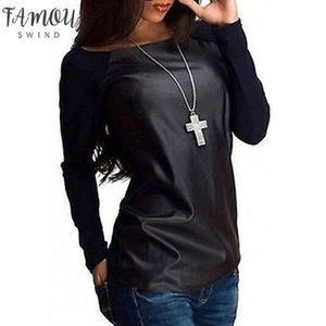 New Sexy Womens Long Sleeve Scoop Neck Pu Leather Spliced T Shirt Casual Loose Pullouver Tops