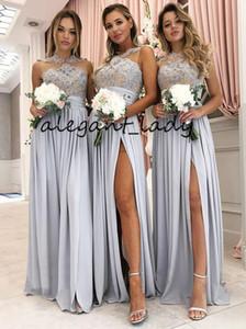 Laço do vintage Appliqued Vestidos de Dama de Prata com Coxa de Split 2019 Jóia Comprimento total País Boêmio Vestidos de Festa de Casamento Júnior