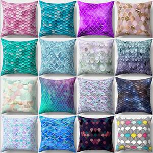 Mermaid Kissenbezüge Fisch-Skala-Quadrat Kopfkissenbezug Mermaid Dekokissen Kissenbezüge Sofa Car Home Decor 16 Designs XH3010