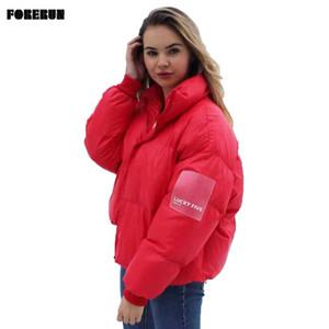 Forerun Giacca oversize donne inverno caldo piumino Solid fortunato dei cinque Lable standard collare bolla cappotto parka Mujer 2019