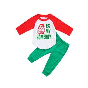 Güzel Bebek Çocuk Boys Noel uzun kollu Santa Noel için yeşil Pants uzun Casual Giyim Seti Clothes tişört baskı giysi