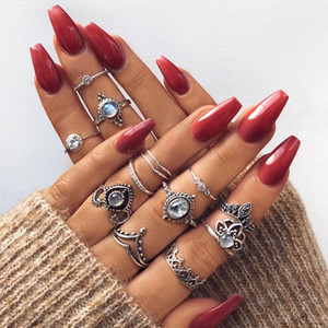 Hot Fashion Jewelry Vintage Knuckle Ring Set Crown Flower Hollow Out Stacking Rings Set 12pcs set S326