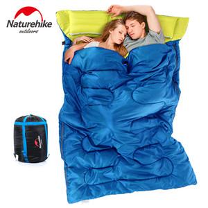 أكياس النوم naturehike حقيبة مزدوجة مع وسادة التخييم في الهواء الطلق المغلف المحمولة القطن الكبار عاشق زوجين السفر