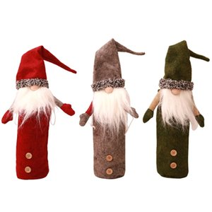 Christmas Gnomes Wine Bottle Cover, Handmade Swedish Tomte Gnomes Wine Bottle Toppers Santa Claus Bottle Bags with Drawstring St