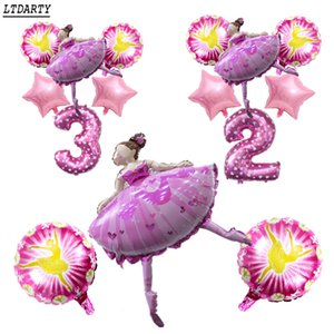 6pcs dancing girl 18-inch star ballerina girl balloon girl happy 0-9 birthday party children's toy decoration 32'' pink digital