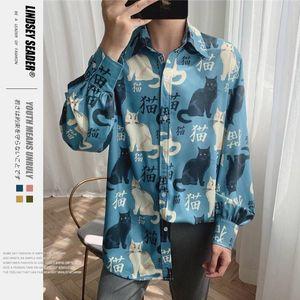 Shirt dos homens Preto Laranja Vintage Cats Na caligrafia chinesa de seda macia azuis Luz shirt Longsleeve solto Streetwear Shirts