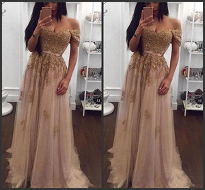 2019 New Champagne Lace Beaded Arabic Evening Dresses Sweetheart A-line Tulle Prom Dresses Vintage Cheap Formal Party Gowns 155