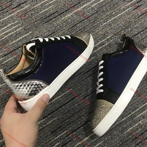 Xshfbcl Red Bottom Junior Spikes Mens Casual Shoes Reglisse Orlato Flat Low Top Red Oeillet Denim Leather Fashion Women Sports Sneakers