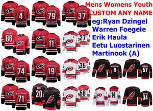 Carolina Hurricanes jerseys Ryan Dzingel Jersey Warren Foegele Brian Gibbons Erik Haula Eetu Luostarinen de hockey sobre hielo de los jerseys cosido personalizada