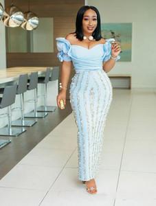 2019 lindo Aso Ebi africano Vestidos de noite Fora do ombro Ruched 3D Floral Plus Size Longo Elegante Vestidos de baile Csutom Feito