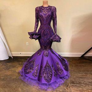 Púrpura africano lentejuelas sirena vestidos de baile de encaje con mangas de la llamarada completa imagen real a largo vestidos de noche vestidos formales Gonna