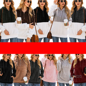Sherpa Frauen PulloverHoodies beiläufige Reißverschluss-Tasche Fleece Sweatshirts volle Hülsen-Kapuzenpullover Winter-Halsband Berber Zip-Pelz-Tuch C92608