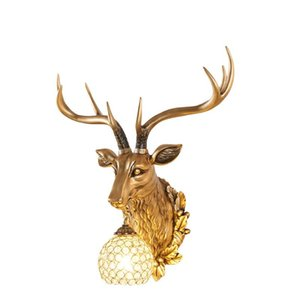 European antique light luxury deer head wall lamp resin living room bedroom corridor entrance bedside background wall trumpet gold 10042