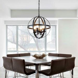 Люстры Vintage Промышленной подвеска лампа освещение с металлической Сферической Shade Black Люстрой для Ферма Столовой Кухни Фойе
