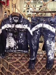 High-end new denim jaqueta casaco personalidade masculina d2 019 magro casual lavagem buraco reparação moda tendência venda quente 612 590629