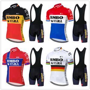 Tour De France 2020 Pro Jumbo Equipe Visma Ciclismo Jersey Summer Set bicicleta roupa MTB bicicleta Jersey BIB kit Ropa Ciclismo