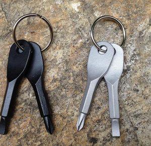 Anel de aço bolso Ferramenta ao ar livre chave de fenda inoxidável Key Keychain Multi ferramenta chave Pingentes Chaveiro multifuncional chave de fenda KKA7784