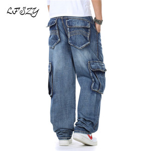 LFSZY New Japan Style Brand Mens Modis Straight Denim Cargo Pants Biker Jeans Men Baggy Loose Blue Jeans With Side Pockets
