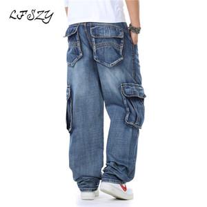 LFSZY Nouveau Japon Style Marque Hommes Modis Droite Denim Cargo Pants Biker Jeans Hommes Baggy Loose Bleu Jeans Avec Poches Latérales