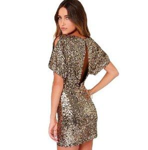 Sheinside USA Free Shipping Gold Short Sleeve Split Back Sequined Dress fz3737