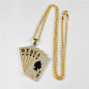 10JQKA Playing Cards Full Diamond Zircon Hip Hop Pendant Couple Necklaces Gold Silver Jewelry Accessories 65cm1