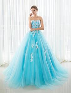 2021 Ballkleid Prom Kleider Lange Tüll Puffy Quinceanera Kleider Vestidos 15 Anos Weiße Spitze Applikationen Sweet 16 Kleider Debutante Kleid
