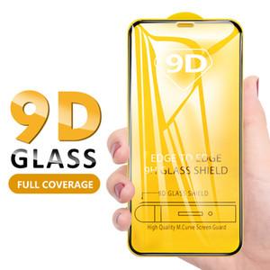 9D protecteur d'écran en verre trempé pour iPhone 11 Pro max Xs Max X XR Cover colle Film pour Samsung S10 A50 M20