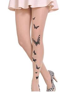 Meias Hosieria Sexy Tatuagem Leggings Mulheres Floral Borboleta Estrelas Amor Coração Bowknot Imprimir Skinny Sheer Legging Venda 2021
