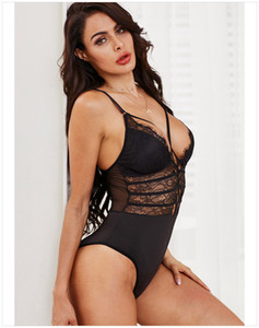 2020 New Deep V Low Chest Sexy Connected Underwear Jumpsuit Lingerie lace Women Black Lace High Quality Sexy Lingerie