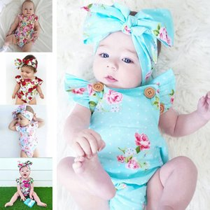 Infants baby girl floral rompers Bodysuit with headbands Ruffles sleeve 2pcs set buttons summer Ins briefs 0-2years