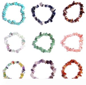 New Natural Healing Crystal Bracelet Sodalite Chip Gemstone 18cm Stretch Natural Stone Bracelets Mixed Gemstone Chakra Bracelet free ship