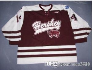 femmes hommes sur mesure jeunes Vintage AHL Hershey Bears 100% broderie # 14 Alex Tangu Hockey Jersey Taille S-5XL ou sur mesure un nom ou un numéro