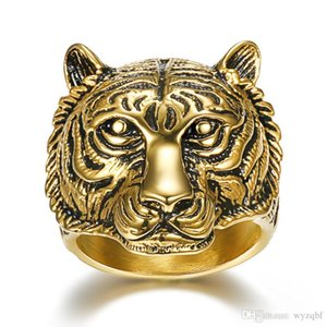 New Cool Stainless Steel Men Ring Tiger Head King of Animal Jewelry Gold Color Punk Rock Finger Ring for Men Fashion Jewelry