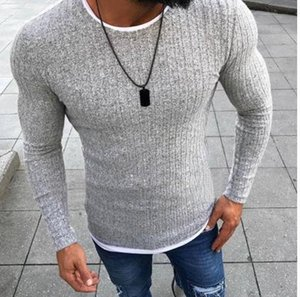 Mens Crew Neck Slim Panelled Sweaters Male Fitting Knitted Tops Casual Pullover Winter Autumn Sweaters S-5XL