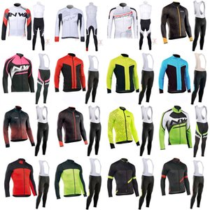 NW Team Men Long Sleeve Cycling Jersey (Bib) Trousers Sets Breathable Mountain Bike Bicycle Clothing C61314