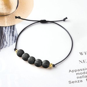 Hot Lava Stone Aroma Essential Oil Diffuser Bracelet Wax Rope Braided White Black Beads Bracelet Women Fashion Jewelry