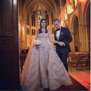 Newest Winter Wedding Dresses 2020 Long Sleeve Detachable Train W1535 Sheath Lace Bridal Gowns Sheer Luxurious Arabic Vintage Shiny Fashion