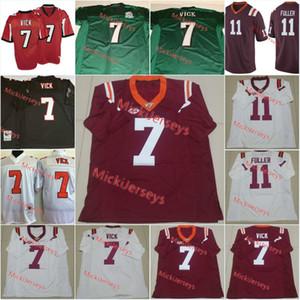 Mens NCAA ВИРГИНИЯ TECH Hokies Michael Vick Американский футбол Джерси прошитой Maroon # 11 Кендалл Фуллер ВИРГИНИЯ TECH Hokies Джерси S-3XL