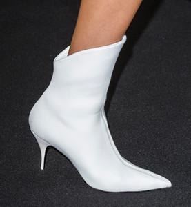 Hot2019 plate-forme de style de peau de vache blanc blanc vont excellent sexy en cuir court court haut avec le dernier mode bottes de femme